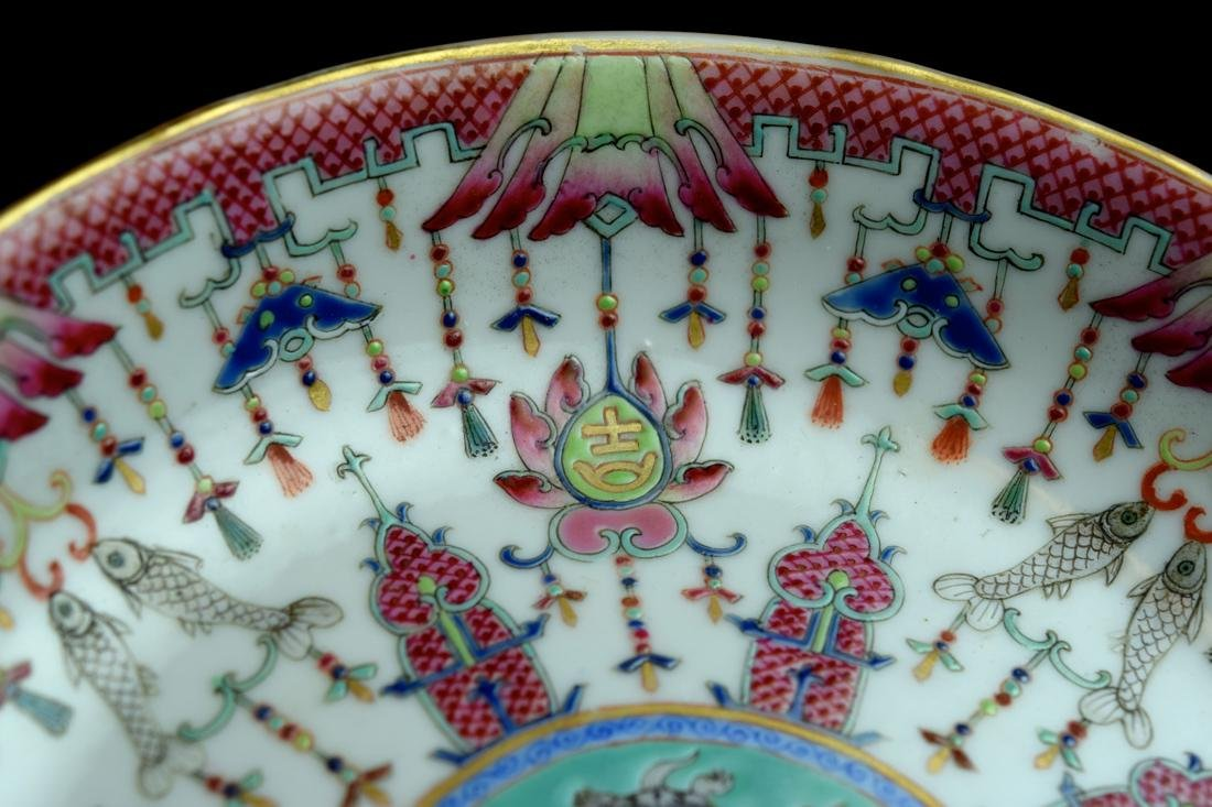 Three Chinese Famille Rose Porcelain Dishes - 3