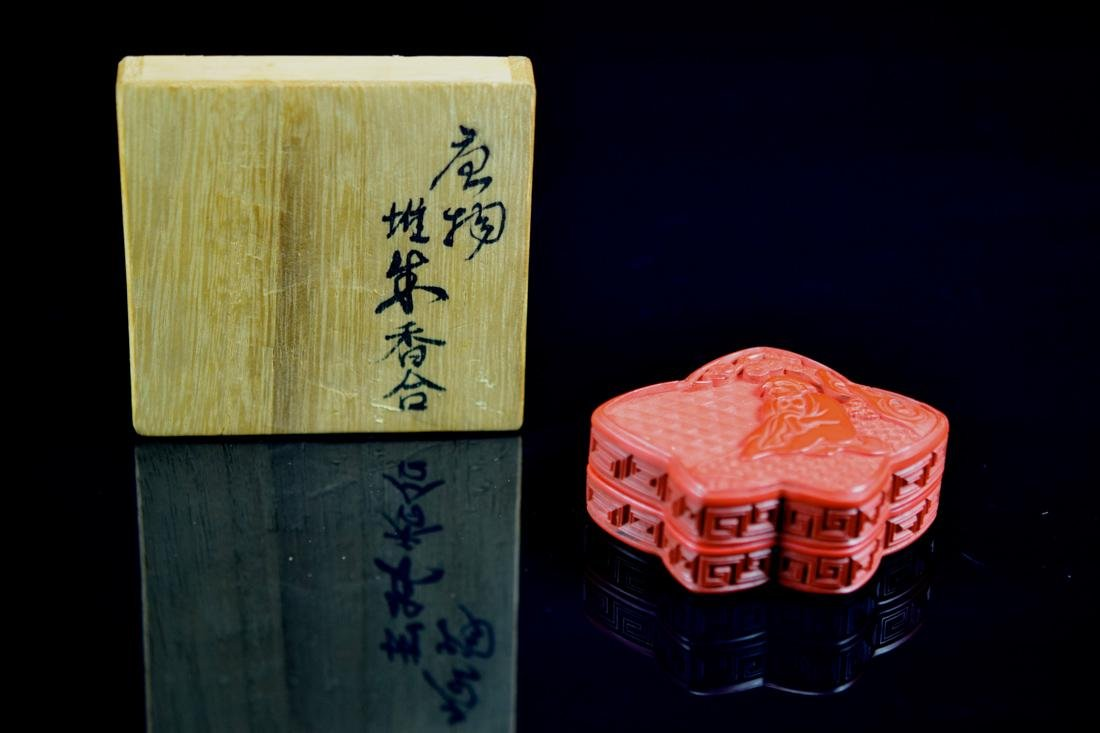 Chinese Cinnebar Lacquer Box with Lohan