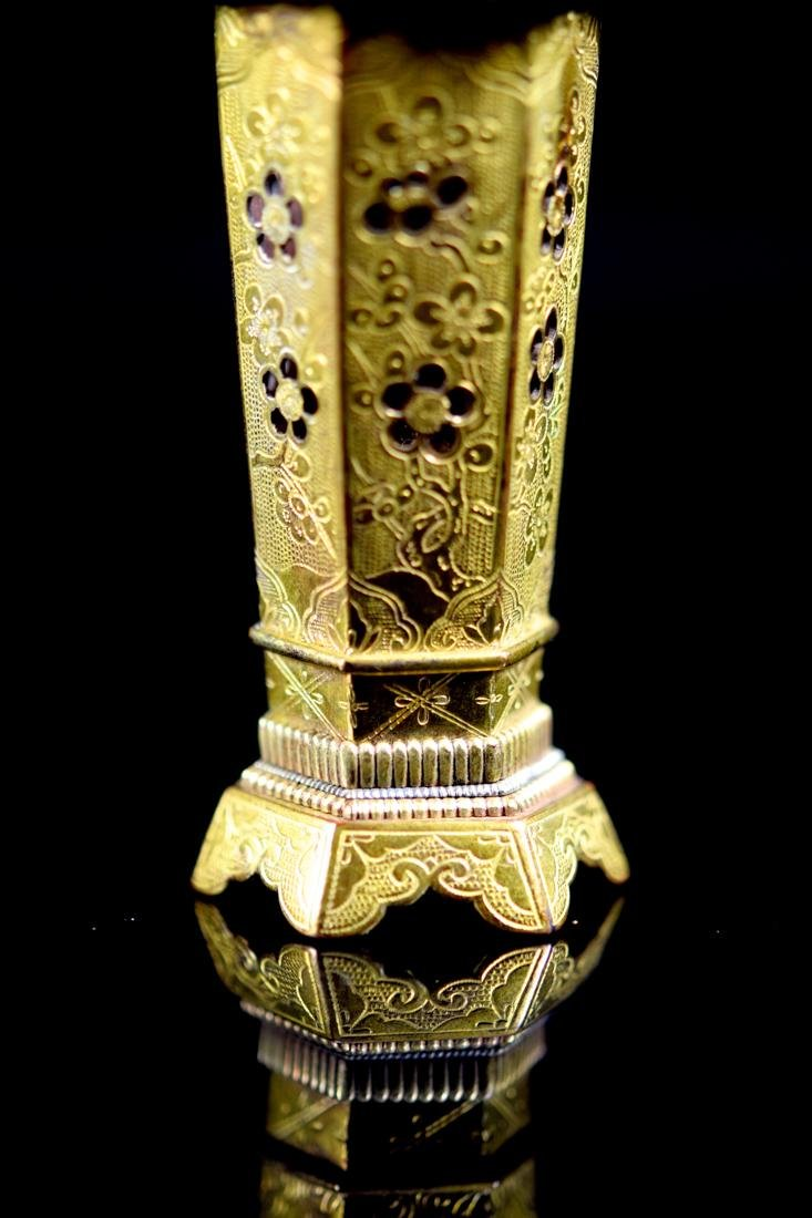 Chinese Gilt Bronze Censer Vase - 2