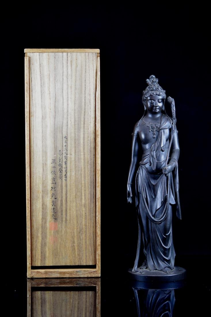 Japanese Bronze Standing Kuanyin with Fitted Box