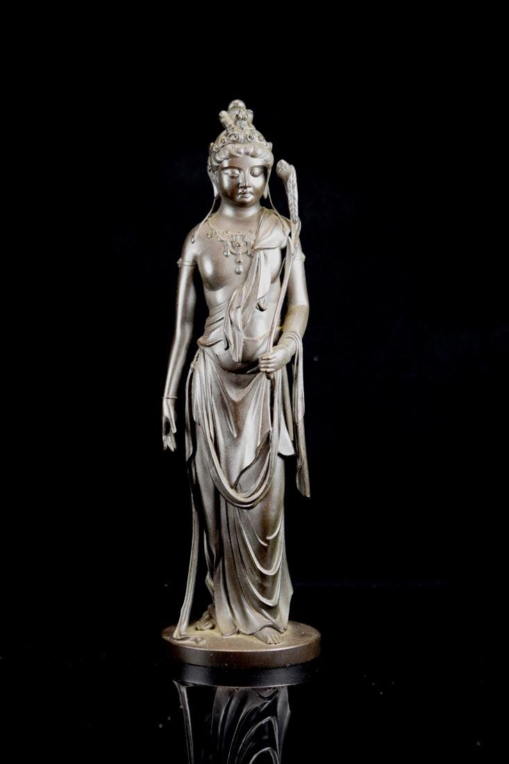 Japanese Bronze Standing Kuanyin with Fitted Box - 3