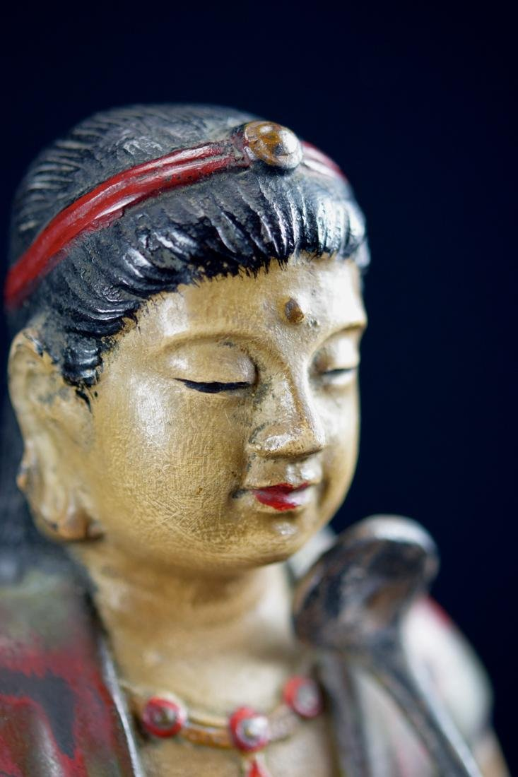 Japanese Bronze Kuanyin with Polychrome Pigment - 3