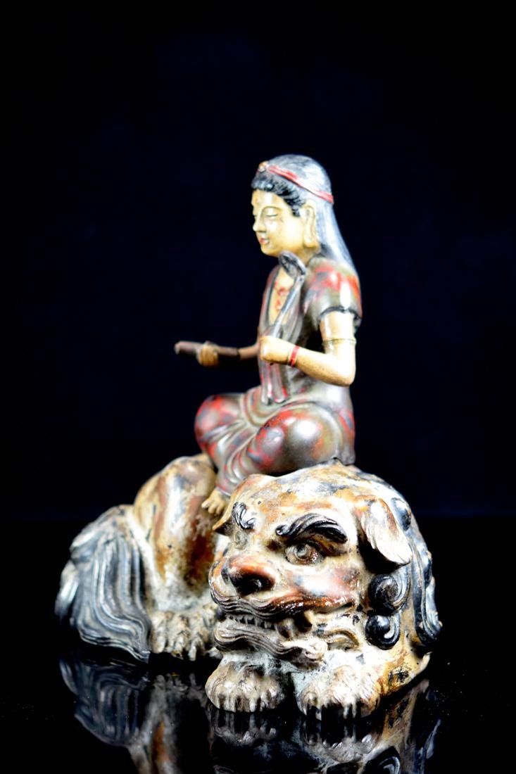 Japanese Bronze Kuanyin with Polychrome Pigment - 5