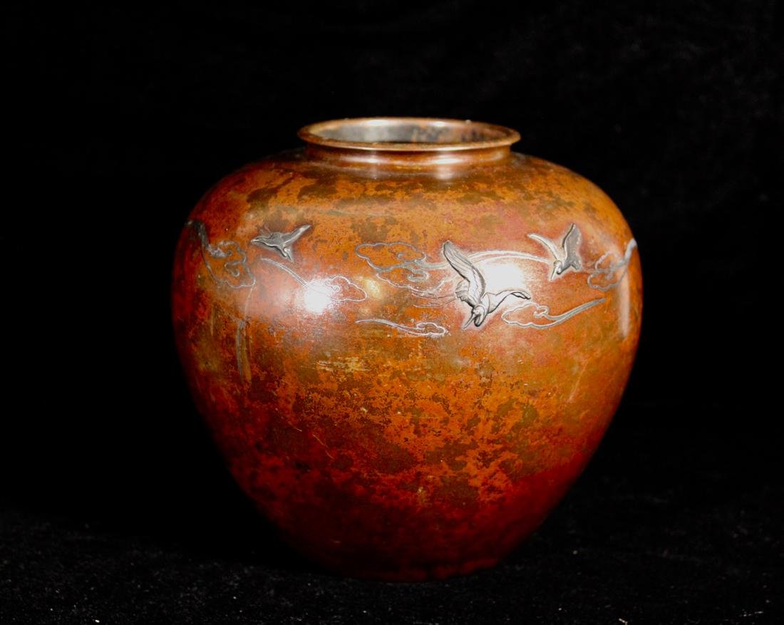 Japanese Mixed Metal Bronze Vase with Silver Inlay