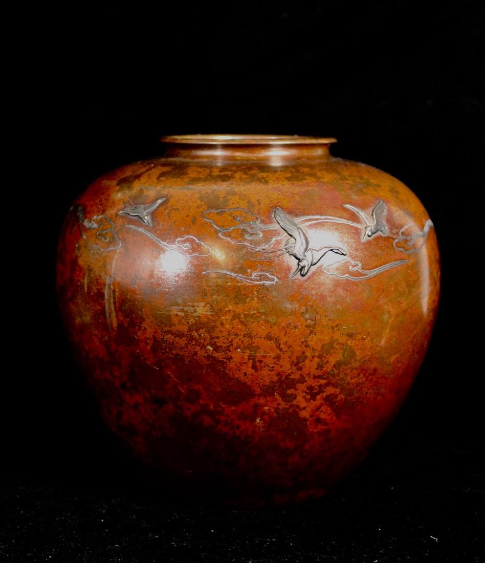 Japanese Mixed Metal Bronze Vase with Silver Inlay - 3