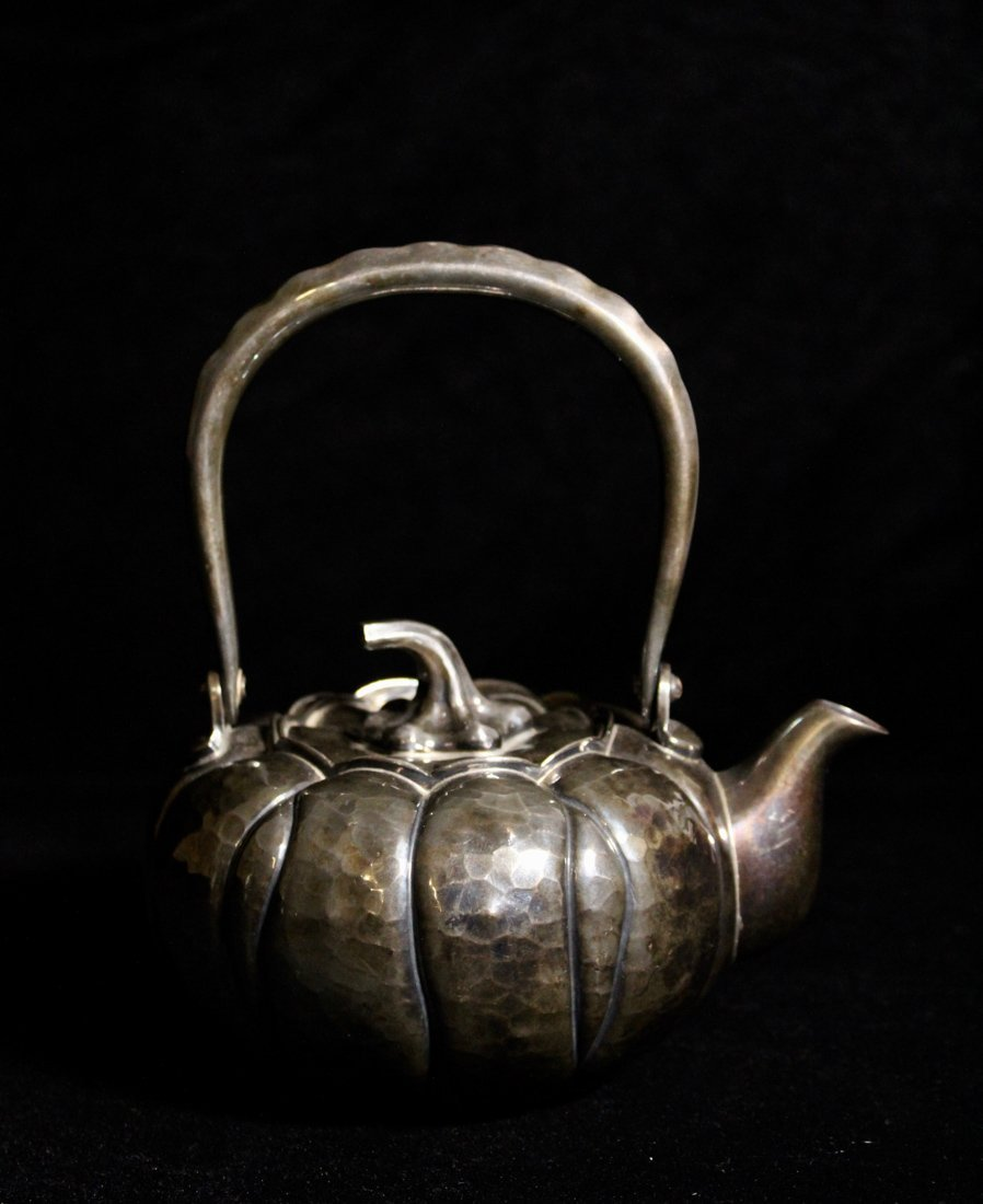 Japanese Sterling Silver Teapot of Pumkin Shape