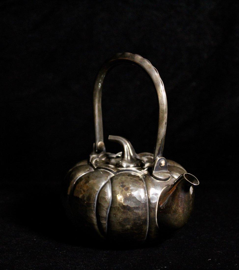 Japanese Sterling Silver Teapot of Pumkin Shape - 4