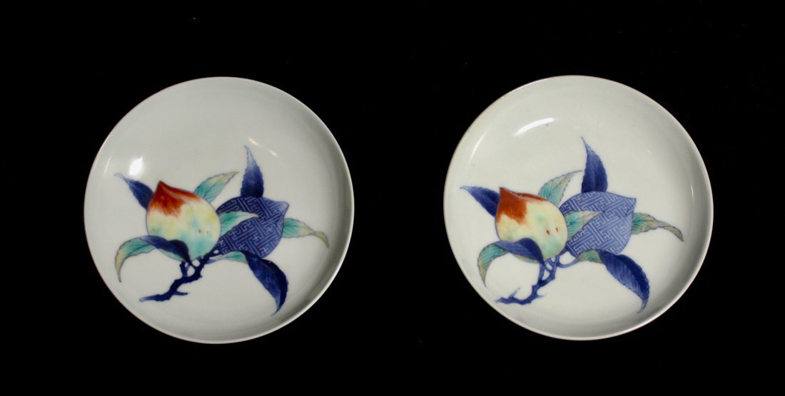 Pair Japanese Nabeshima Porcelain Dish with Peach Scene