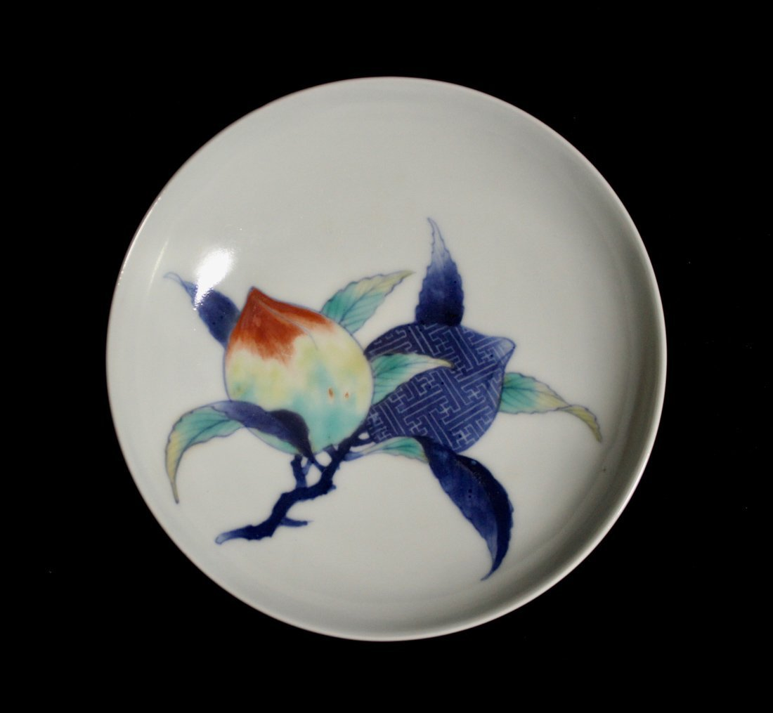Pair Japanese Nabeshima Porcelain Dish with Peach Scene - 2