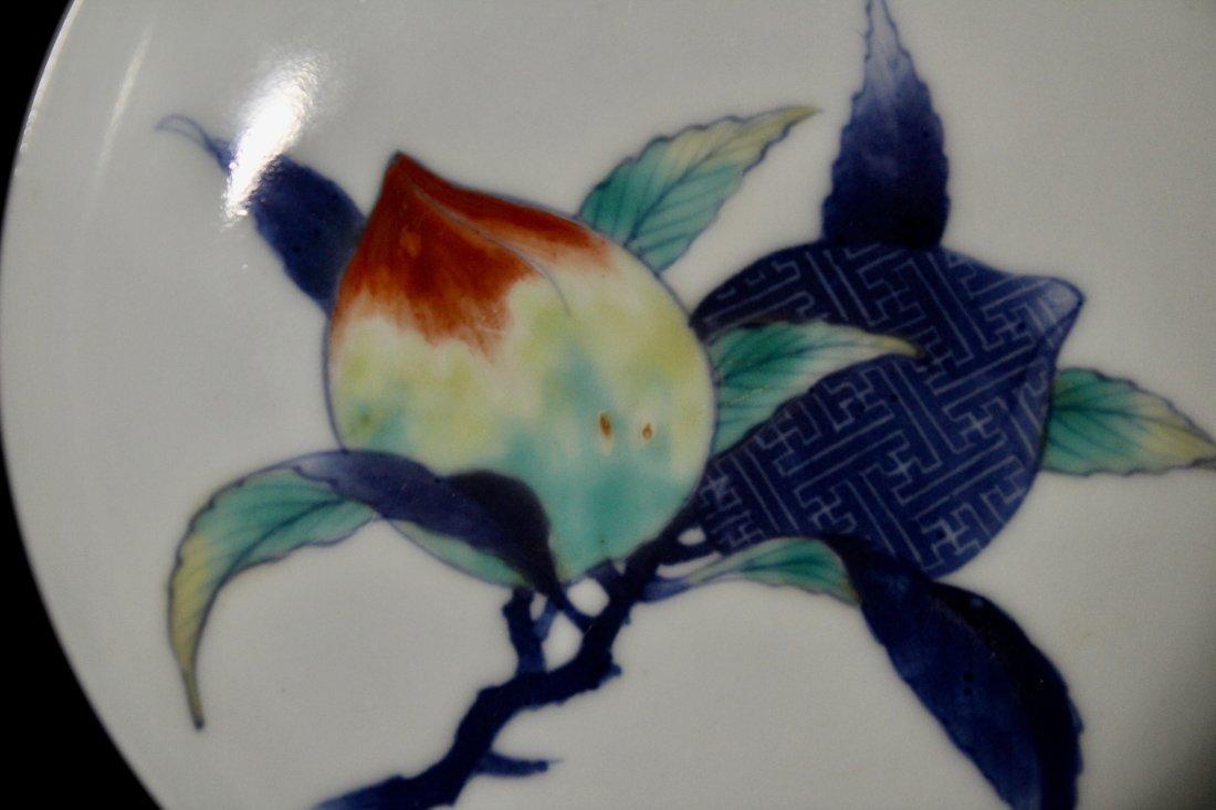 Pair Japanese Nabeshima Porcelain Dish with Peach Scene - 3