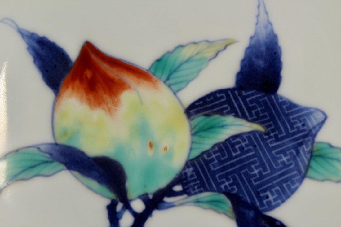 Pair Japanese Nabeshima Porcelain Dish with Peach Scene - 8