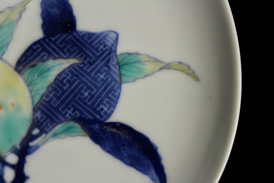 Pair Japanese Nabeshima Porcelain Dish with Peach Scene - 9