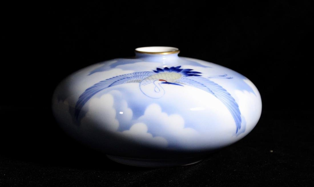Japanese Korasha Porcelain Vase of Crane Scene