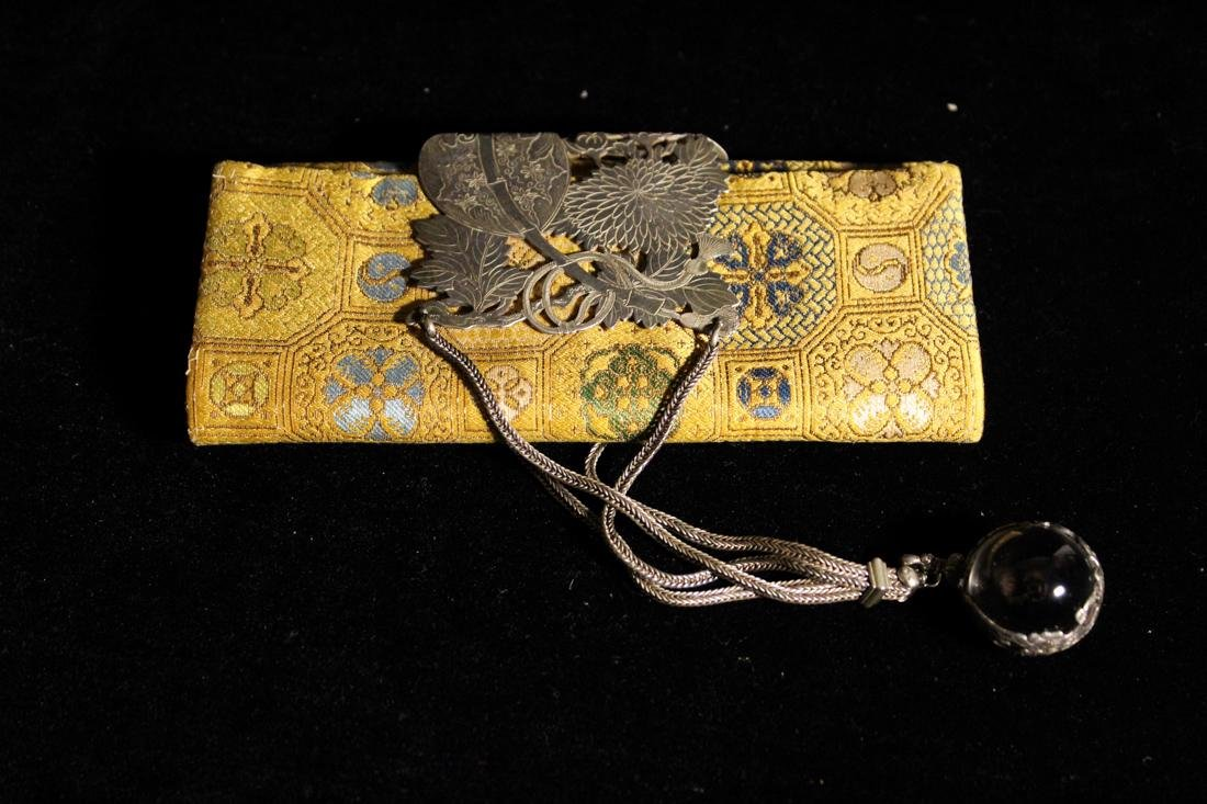 Unusua Japanese Fabric Purse with Silver and Crystal