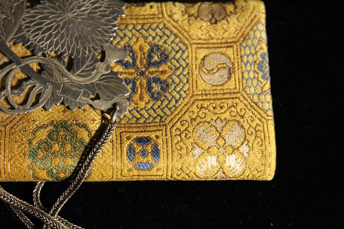 Unusua Japanese Fabric Purse with Silver and Crystal - 3
