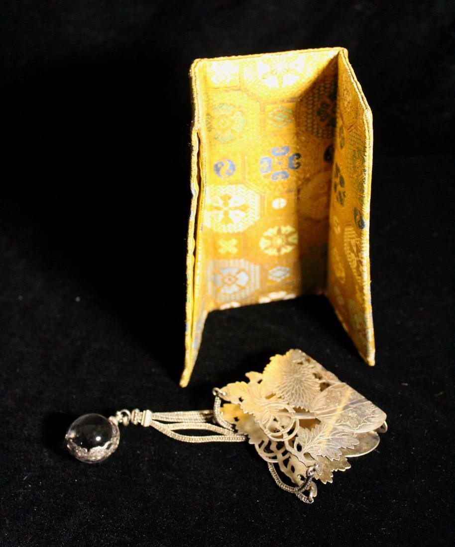 Unusua Japanese Fabric Purse with Silver and Crystal - 7