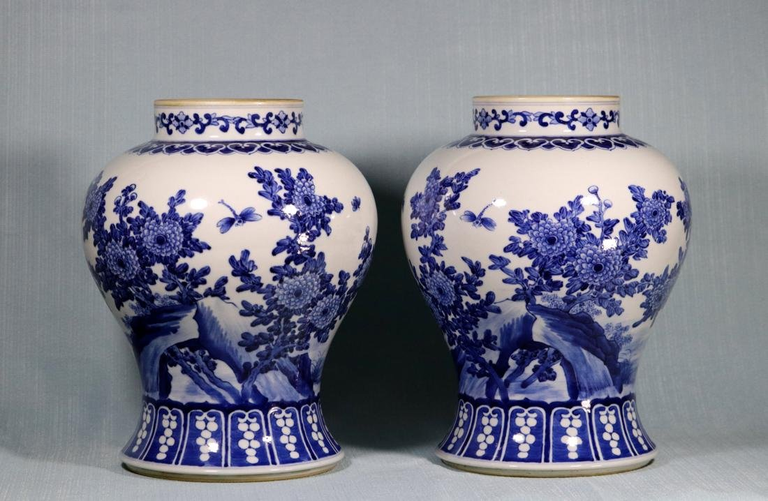 Pair Chinese Blue White Porcelain Jars with Bird Scene