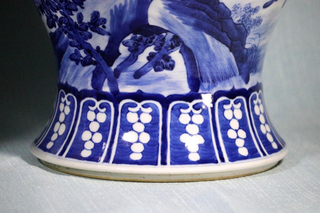 Pair Chinese Blue White Porcelain Jars with Bird Scene - 4
