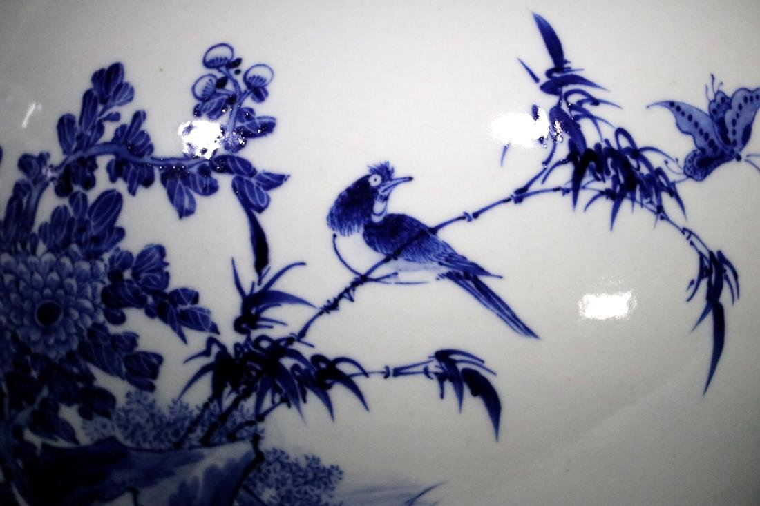 Pair Chinese Blue White Porcelain Jars with Bird Scene - 6