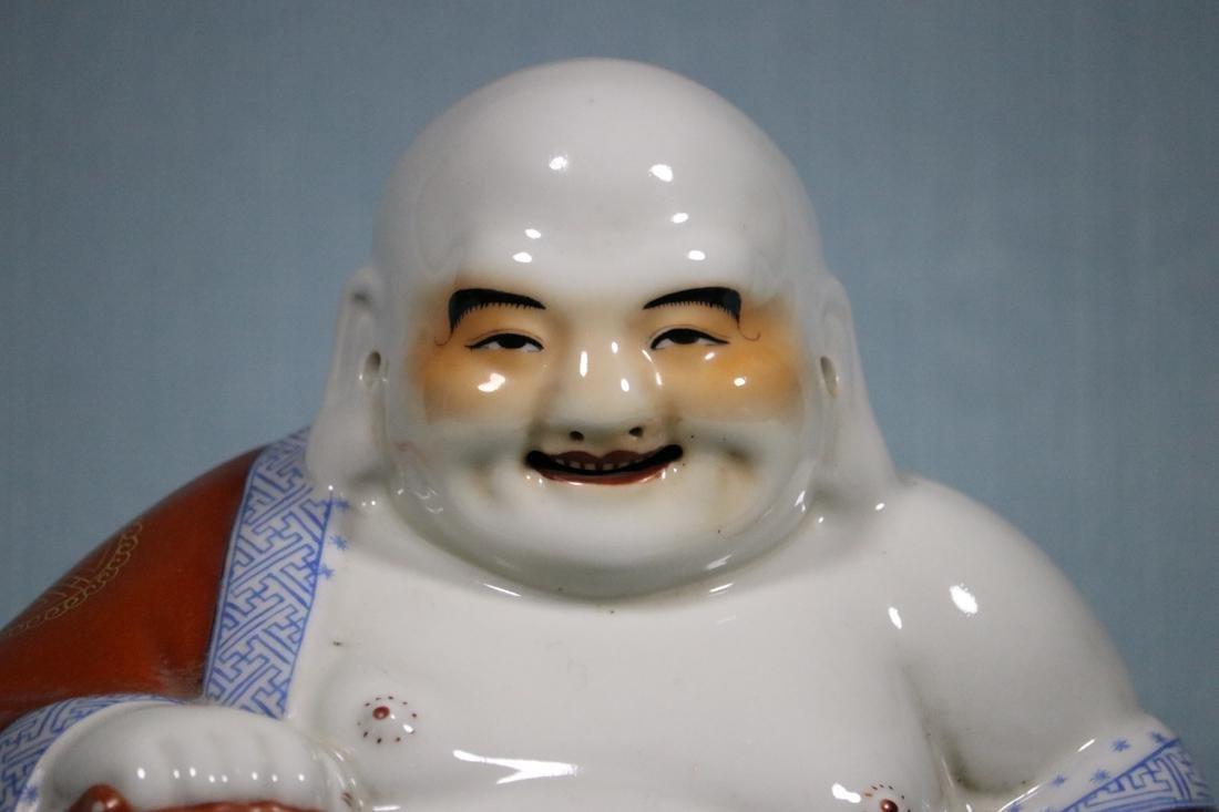 Chinese Porcelain Seated Happy Buddha - 2