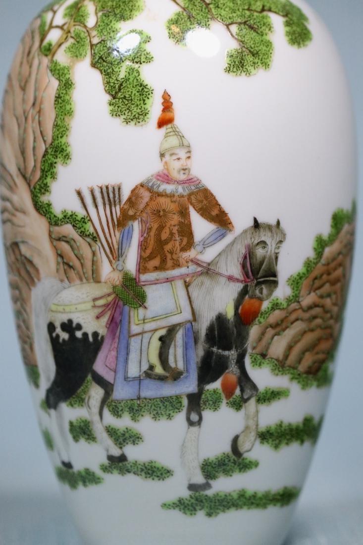 Chinese Egg Shell Porcelain Vase of General on Horse - 2