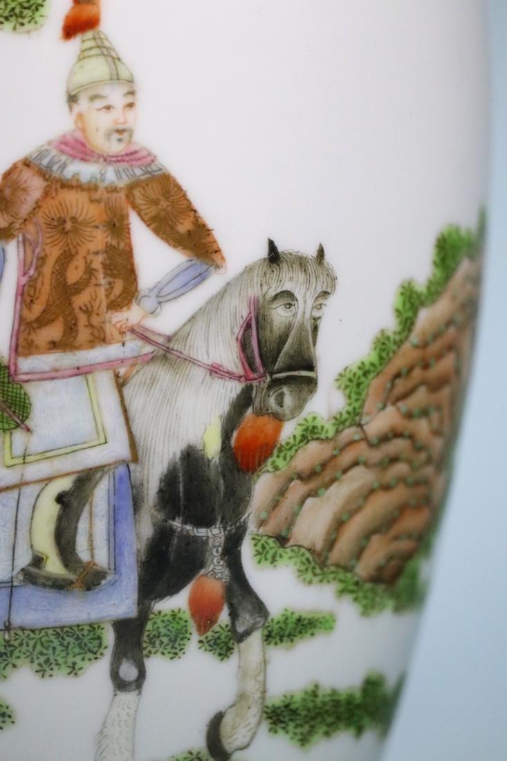 Chinese Egg Shell Porcelain Vase of General on Horse - 3