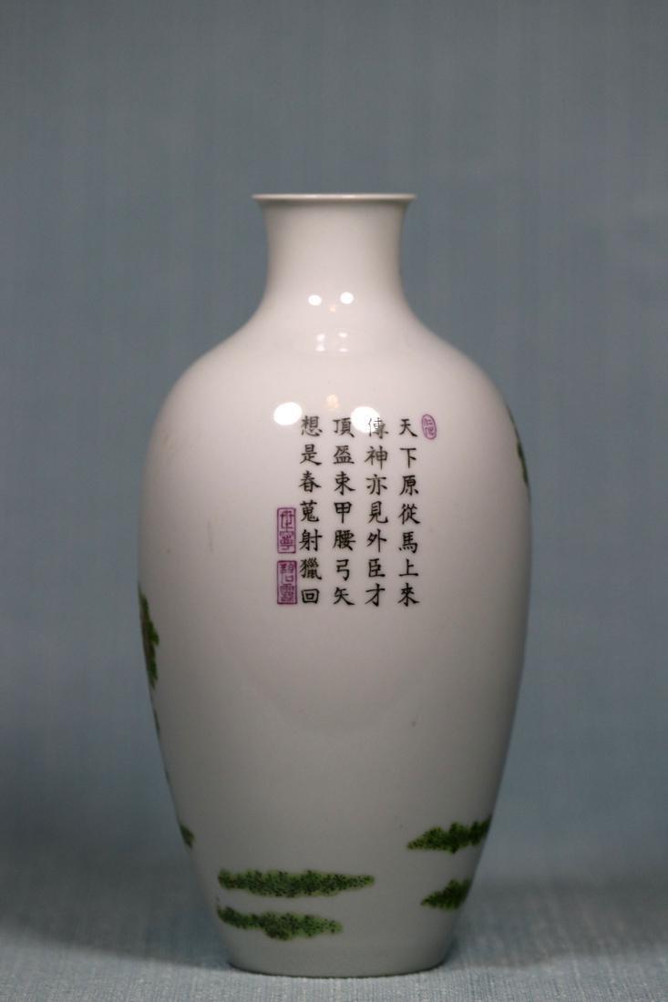 Chinese Egg Shell Porcelain Vase of General on Horse - 4