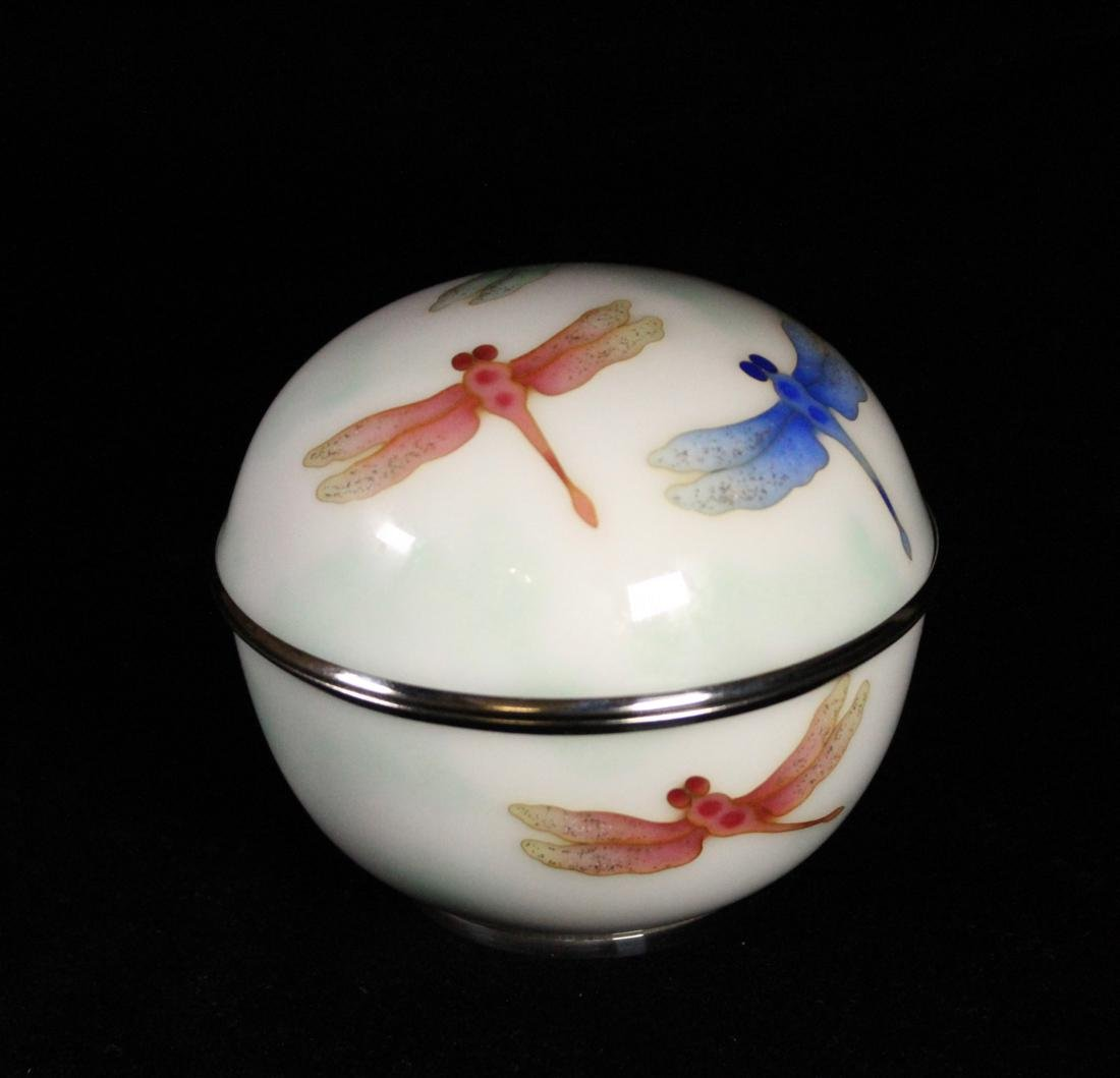 Japanese Cloisonne Box by Ando Jubei - Dragonfly - 3