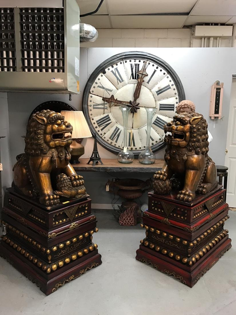 Momumental Pair of Chinese Wood Peking Lion with Gold