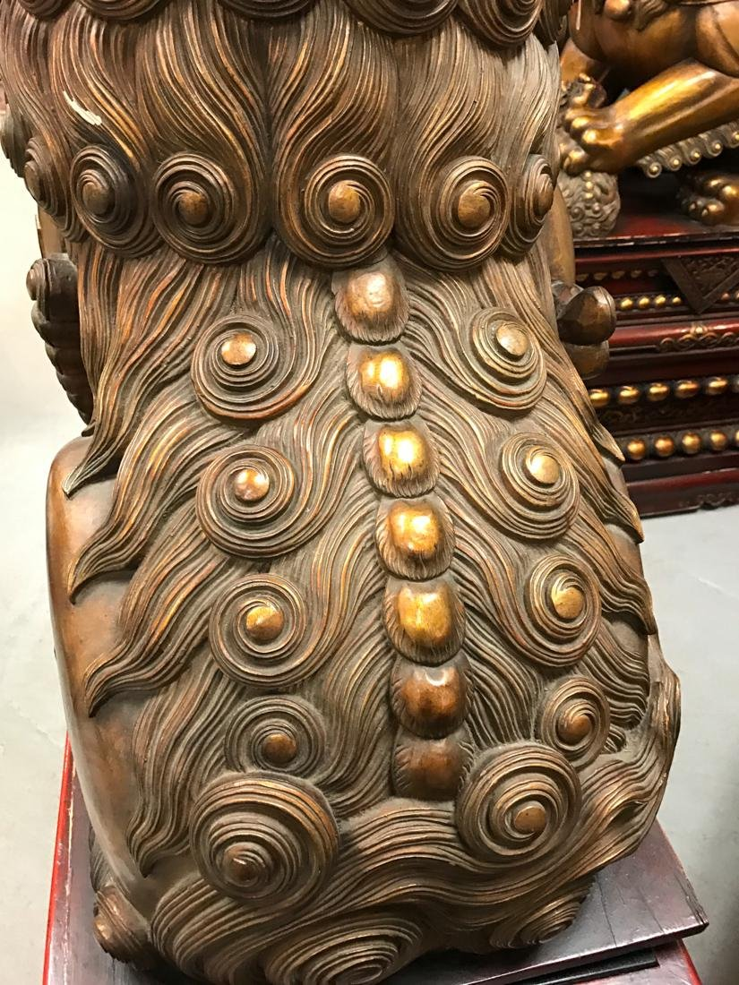 Momumental Pair of Chinese Wood Peking Lion with Gold - 2
