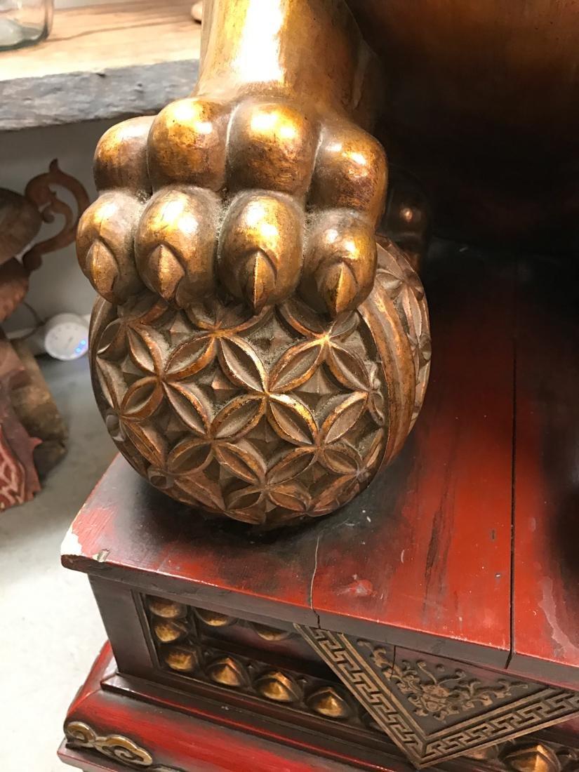 Momumental Pair of Chinese Wood Peking Lion with Gold - 7