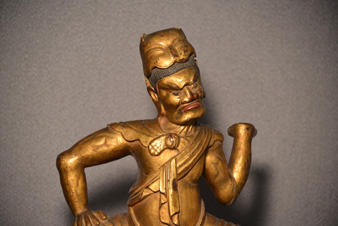 Chinese Lacquered Wood Sculpture of a Warrior - 2