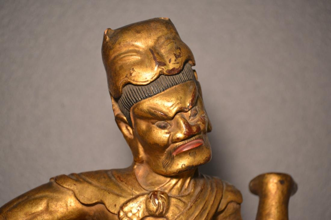 Chinese Lacquered Wood Sculpture of a Warrior - 3