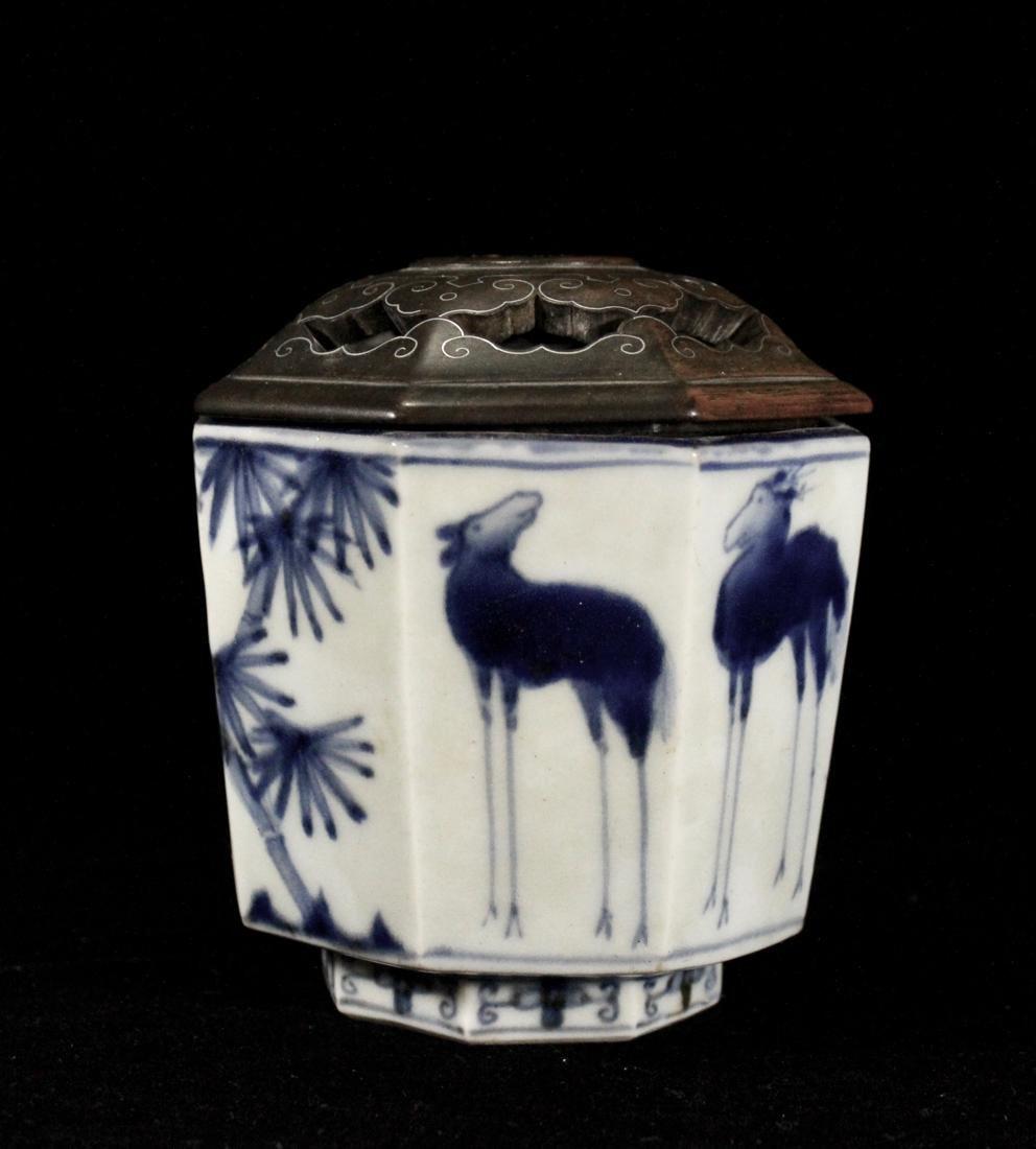 Japanese 18th cen Arita Blue White Porcelain Censer