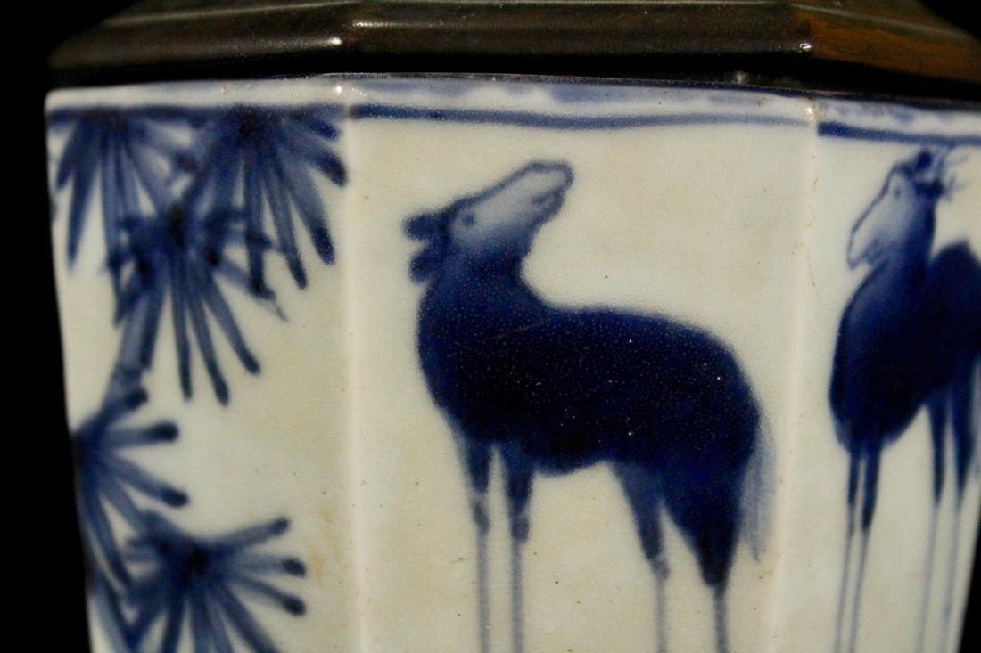 Japanese 18th cen Arita Blue White Porcelain Censer - 2