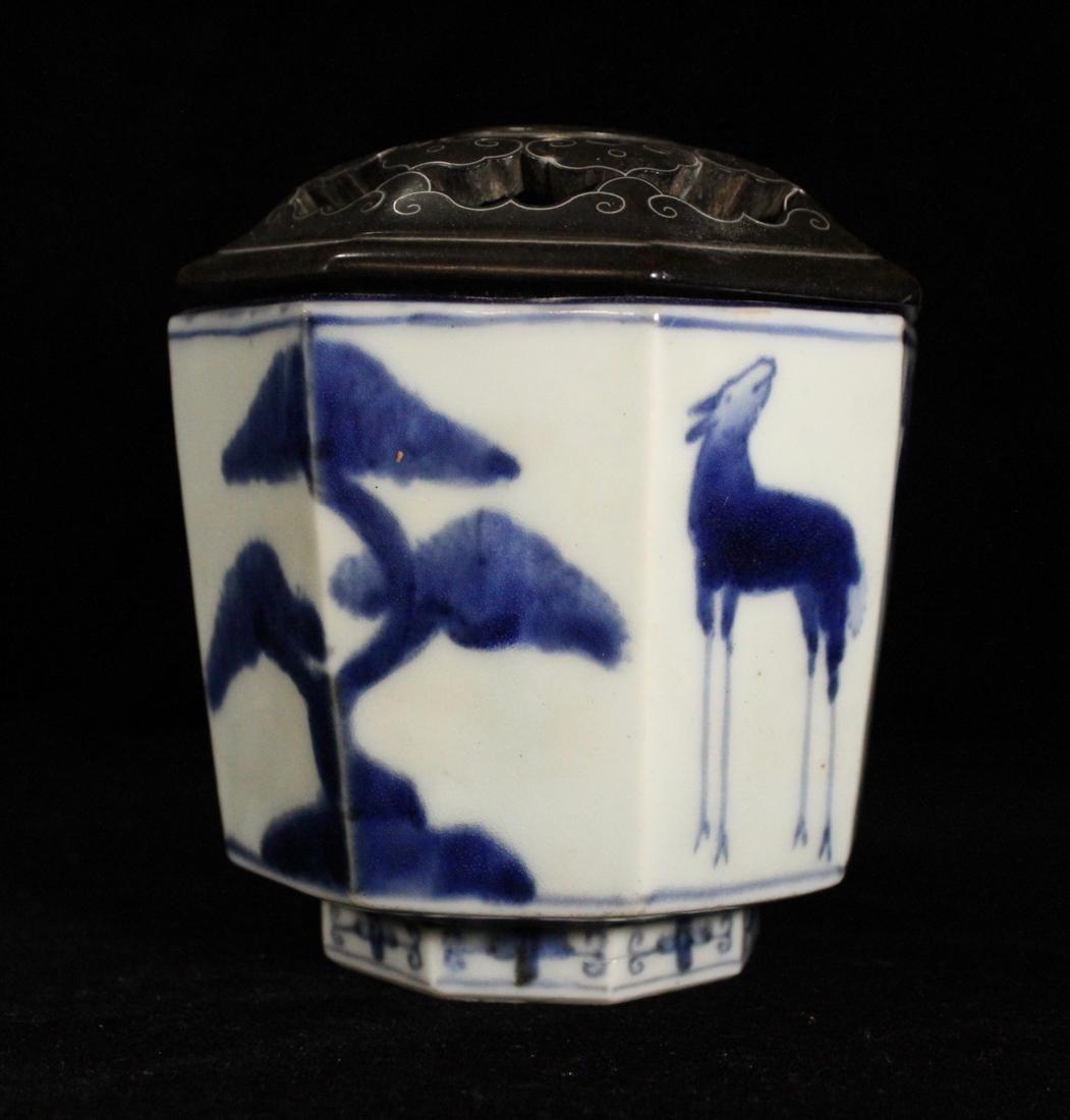 Japanese 18th cen Arita Blue White Porcelain Censer - 4