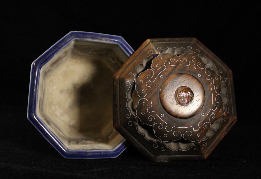 Japanese 18th cen Arita Blue White Porcelain Censer - 8