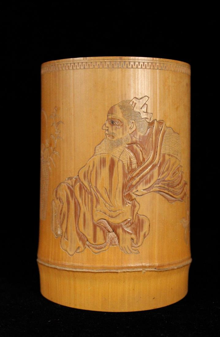 Japanese Bamboo Brushpot Figural - Signed Matsuki