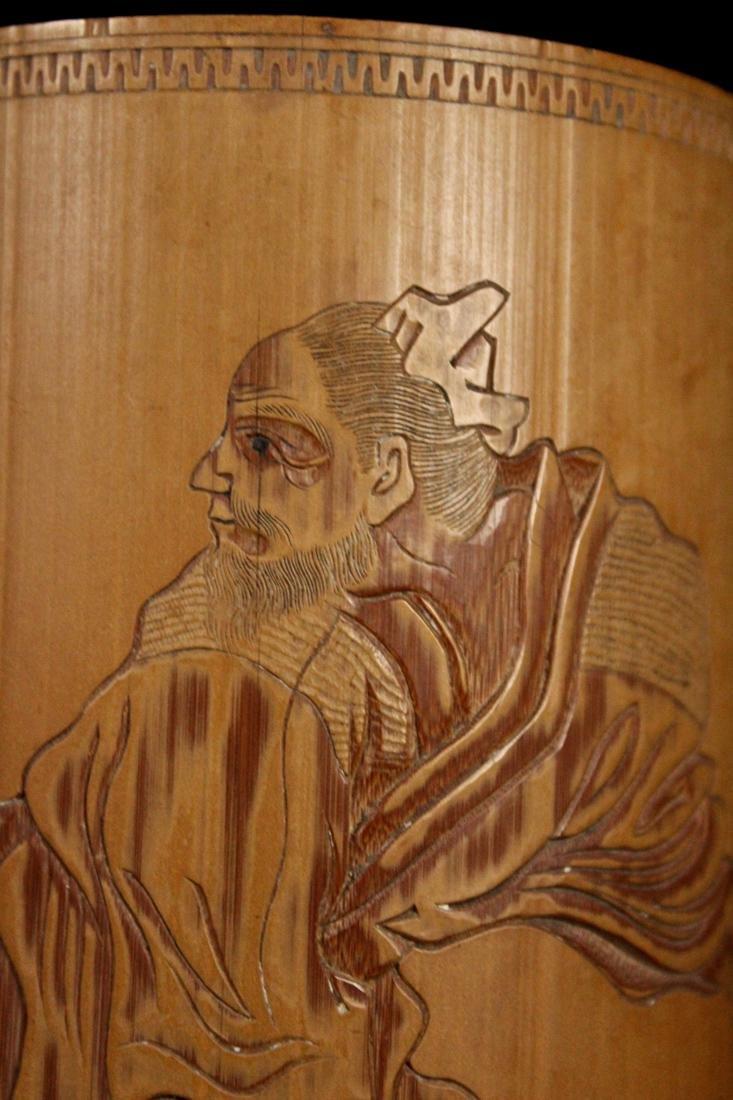 Japanese Bamboo Brushpot Figural - Signed Matsuki - 2