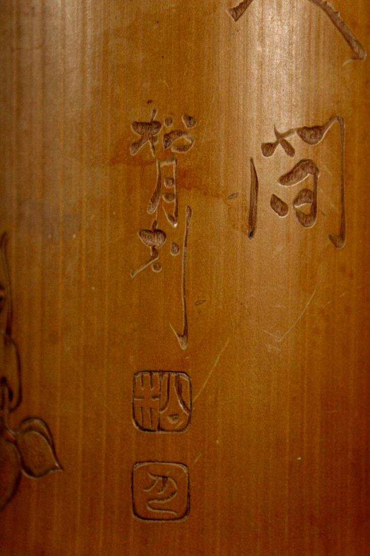 Japanese Bamboo Brushpot Figural - Signed Matsuki - 4