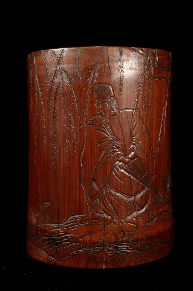 Japanese Edo Period Bamboo Brushpot