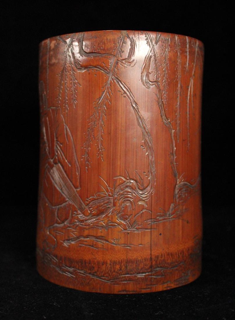 Japanese Edo Period Bamboo Brushpot - 4