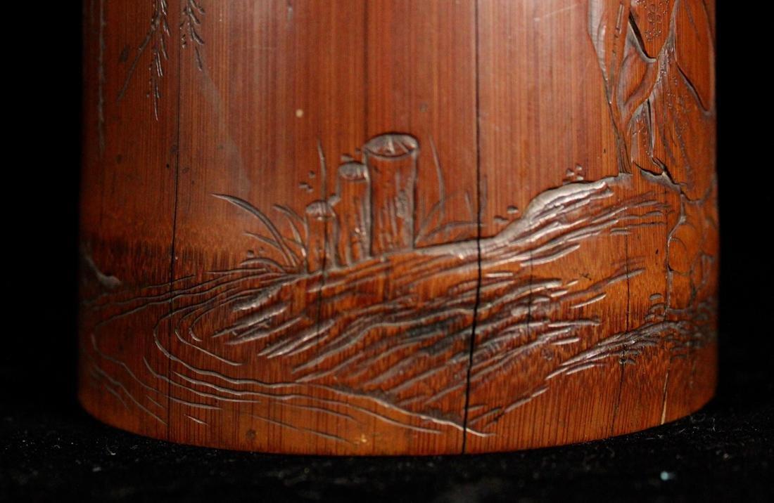 Japanese Edo Period Bamboo Brushpot - 5
