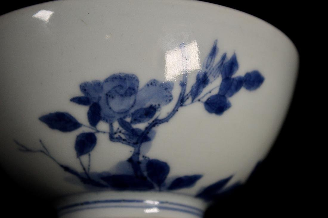 Pair Chinese Blue White Porcelain Bowl with Floral - 2
