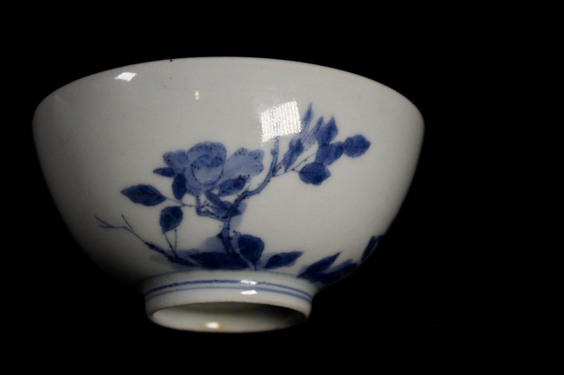 Pair Chinese Blue White Porcelain Bowl with Floral - 3