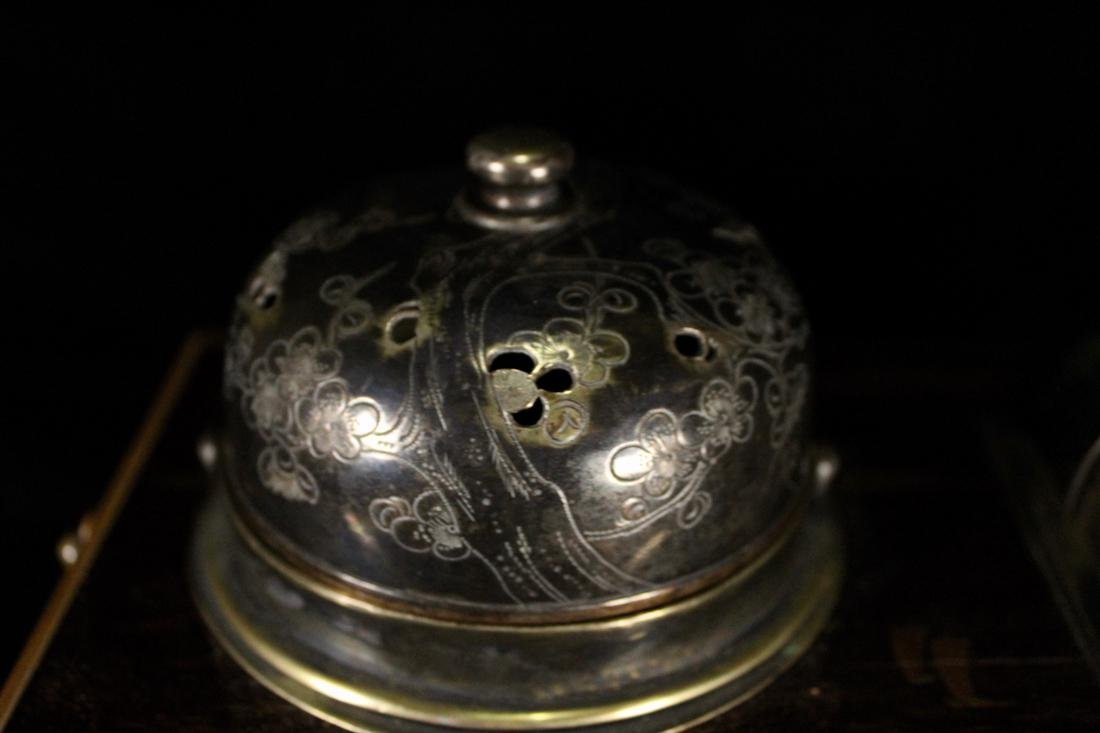 Japanese Lacquer Box with Silver Wares - 2