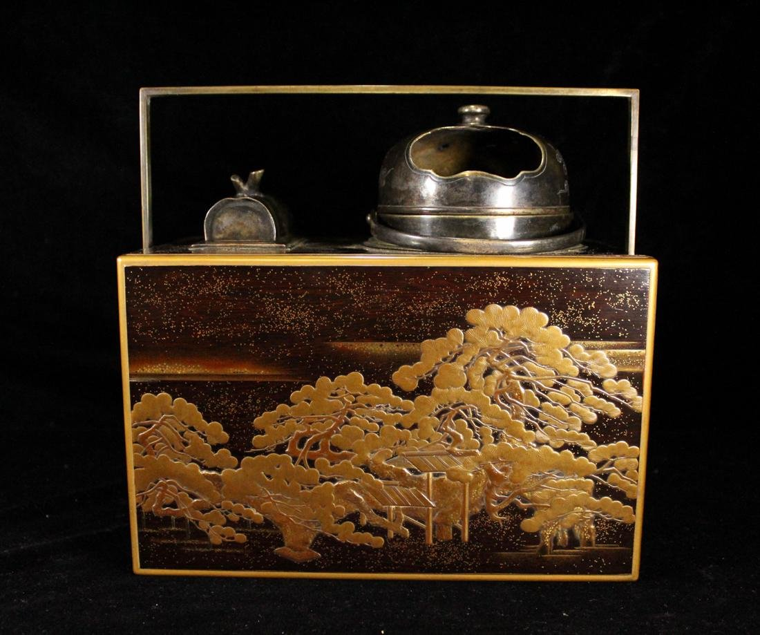 Japanese Lacquer Box with Silver Wares - 4