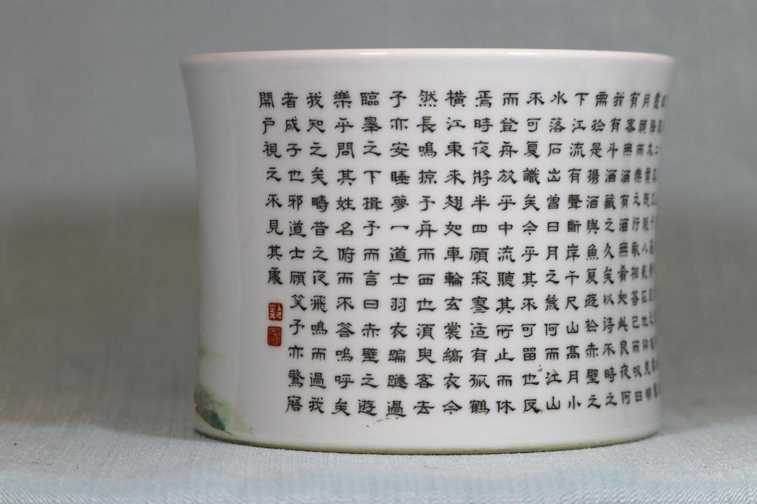 Chinese Doucai Porcelain Rouleat Vase - 4