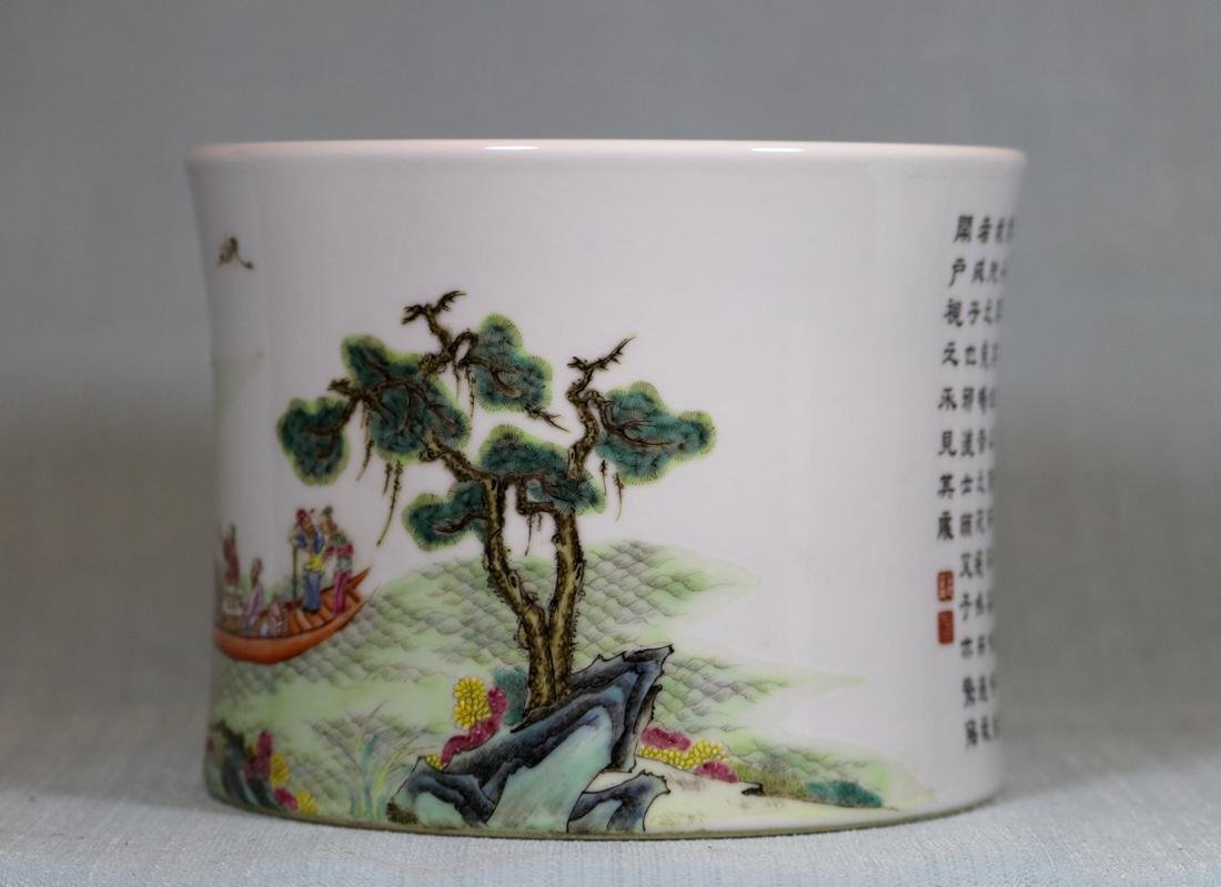 Chinese Doucai Porcelain Rouleat Vase - 6