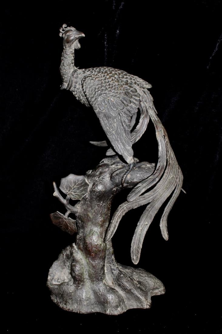 Large Chinese Bronze Pheonix on Tree